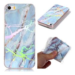 Light Blue Marble Pattern Bright Color Laser Soft TPU Case for iPhone SE2 (iPhone SE 2018)
