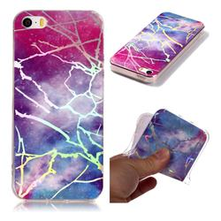 Dream Sky Marble Pattern Bright Color Laser Soft TPU Case for iPhone SE2 (iPhone SE 2018)