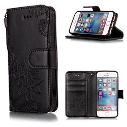 Intricate Embossing Lotus Mandala Flower Leather Wallet Case for iPhone SE2 (iPhone SE 2018) - Black