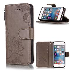 Intricate Embossing Lotus Mandala Flower Leather Wallet Case for iPhone SE2 (iPhone SE 2018) - Gray