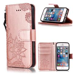 Intricate Embossing Lotus Mandala Flower Leather Wallet Case for iPhone SE2 (iPhone SE 2018) - Rose Gold