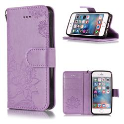 Intricate Embossing Lotus Mandala Flower Leather Wallet Case for iPhone SE2 (iPhone SE 2018) - Purple