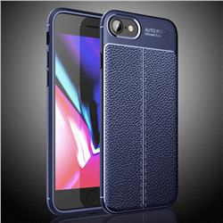 Luxury Auto Focus Litchi Texture Silicone TPU Back Cover for iPhone SE 2020 - Dark Blue