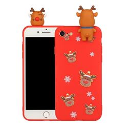 Elk Snowflakes Christmas Xmax Soft 3D Doll Silicone Case for iPhone SE 2020
