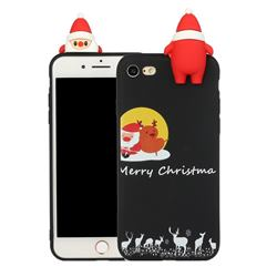 Santa Elk on Moon Christmas Xmax Soft 3D Doll Silicone Case for iPhone SE 2020
