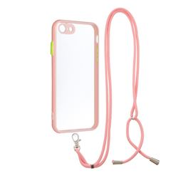 Necklace Cross-body Lanyard Strap Cord Phone Case Cover for iPhone SE 2020 - Pink
