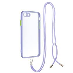 Necklace Cross-body Lanyard Strap Cord Phone Case Cover for iPhone SE 2020 - Purple