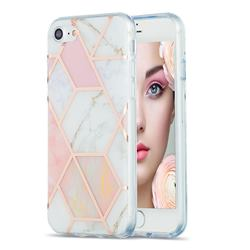Pink White Marble Pattern Galvanized Electroplating Protective Case Cover for iPhone SE 2020