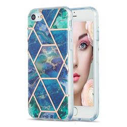 Blue Green Marble Pattern Galvanized Electroplating Protective Case Cover for iPhone SE 2020