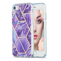 Purple Gagic Marble Pattern Galvanized Electroplating Protective Case Cover for iPhone SE 2020