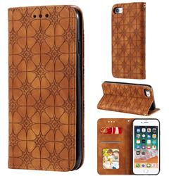 Intricate Embossing Four Leaf Clover Leather Wallet Case for iPhone SE 2020 - Yellowish Brown
