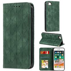 Intricate Embossing Four Leaf Clover Leather Wallet Case for iPhone SE 2020 - Blackish Green