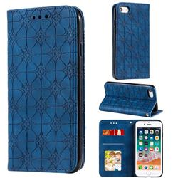 Intricate Embossing Four Leaf Clover Leather Wallet Case for iPhone SE 2020 - Dark Blue