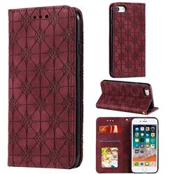 Intricate Embossing Four Leaf Clover Leather Wallet Case for iPhone SE 2020 - Claret