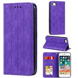 Intricate Embossing Four Leaf Clover Leather Wallet Case for iPhone SE 2020 - Purple