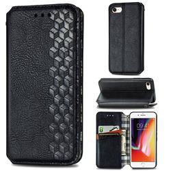 Ultra Slim Fashion Business Card Magnetic Automatic Suction Leather Flip Cover for iPhone SE 2020 - Black