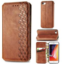 Ultra Slim Fashion Business Card Magnetic Automatic Suction Leather Flip Cover for iPhone SE 2020 - Brown