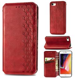 Ultra Slim Fashion Business Card Magnetic Automatic Suction Leather Flip Cover for iPhone SE 2020 - Red
