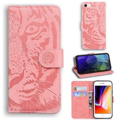 Intricate Embossing Tiger Face Leather Wallet Case for iPhone SE 2020 - Pink