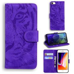 Intricate Embossing Tiger Face Leather Wallet Case for iPhone SE 2020 - Purple