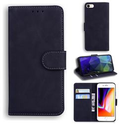Retro Classic Skin Feel Leather Wallet Phone Case for iPhone SE 2020 - Black