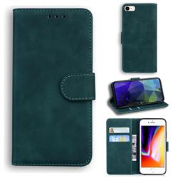 Retro Classic Skin Feel Leather Wallet Phone Case for iPhone SE 2020 - Green