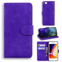 Retro Classic Skin Feel Leather Wallet Phone Case for iPhone SE 2020 - Purple