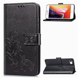 Embossing Imprint Four-Leaf Clover Leather Wallet Case for iPhone SE 2020 - Black