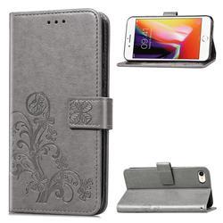 Embossing Imprint Four-Leaf Clover Leather Wallet Case for iPhone SE 2020 - Grey