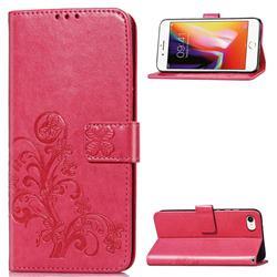 Embossing Imprint Four-Leaf Clover Leather Wallet Case for iPhone SE 2020 - Rose Red