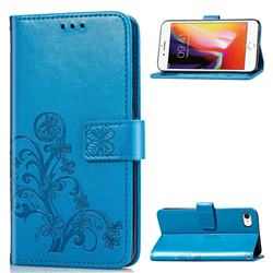 Embossing Imprint Four-Leaf Clover Leather Wallet Case for iPhone SE 2020 - Blue