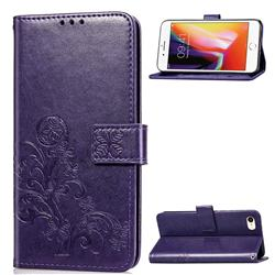 Embossing Imprint Four-Leaf Clover Leather Wallet Case for iPhone SE 2020 - Purple