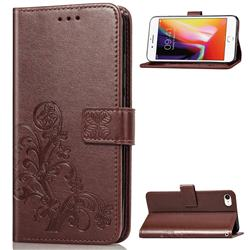 Embossing Imprint Four-Leaf Clover Leather Wallet Case for iPhone SE 2020 - Brown