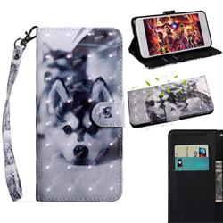 Husky Dog 3D Painted Leather Wallet Case for iPhone SE 2020