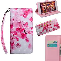 Peach Blossom 3D Painted Leather Wallet Case for iPhone SE 2020