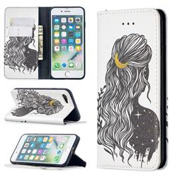 Girl with Long Hair Slim Magnetic Attraction Wallet Flip Cover for iPhone SE 2020