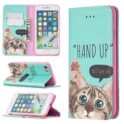 Hand Up Cat Slim Magnetic Attraction Wallet Flip Cover for iPhone SE 2020