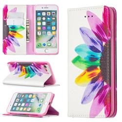 Sun Flower Slim Magnetic Attraction Wallet Flip Cover for iPhone SE 2020