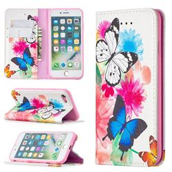 Flying Butterflies Slim Magnetic Attraction Wallet Flip Cover for iPhone SE 2020