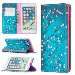 Plum Blossom Slim Magnetic Attraction Wallet Flip Cover for iPhone SE 2020