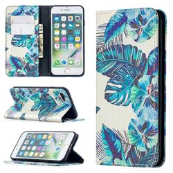 Blue Leaf Slim Magnetic Attraction Wallet Flip Cover for iPhone SE 2020