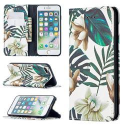 Flower Leaf Slim Magnetic Attraction Wallet Flip Cover for iPhone SE 2020