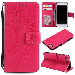 Intricate Embossing Datura Leather Wallet Case for iPhone SE 2020 - Rose Red