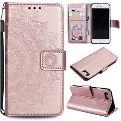 Intricate Embossing Datura Leather Wallet Case for iPhone SE 2020 - Rose Gold