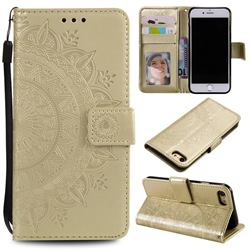 Intricate Embossing Datura Leather Wallet Case for iPhone SE 2020 - Golden