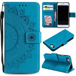 Intricate Embossing Datura Leather Wallet Case for iPhone SE 2020 - Blue