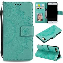 Intricate Embossing Datura Leather Wallet Case for iPhone SE 2020 - Mint Green