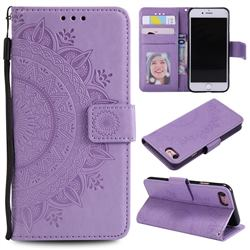 Intricate Embossing Datura Leather Wallet Case for iPhone SE 2020 - Purple