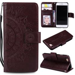 Intricate Embossing Datura Leather Wallet Case for iPhone SE 2020 - Brown