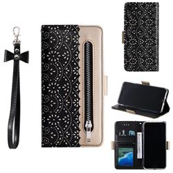 Luxury Lace Zipper Stitching Leather Phone Wallet Case for iPhone SE 2020 - Black